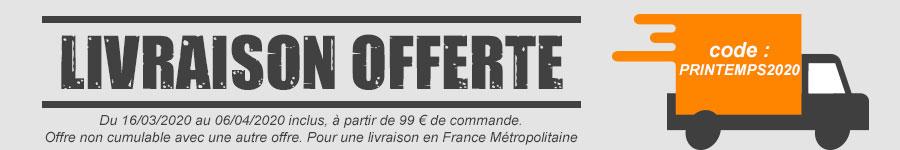 Livraison offerte jusqu'au 06/04/2020 à partir de 99 € d'achat, profitez-en vite