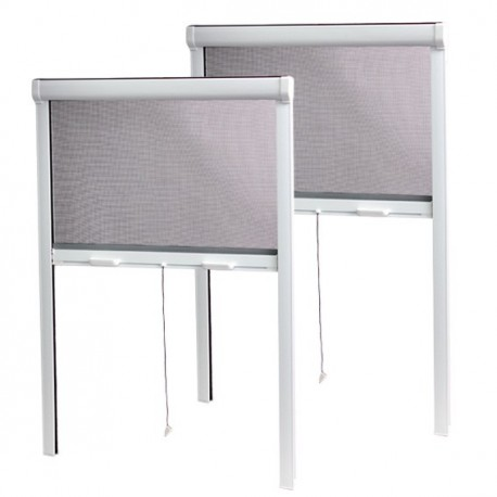 PACK ECO de 2 moustiquaires Enroulables PVC H170 cm x L160 cm Blanc chez Volet-Moustiquaire.com