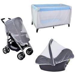 """Pack """"Tout pour BéBé"""", ensemble de 3 moustiquaires : poussette, cosy et lit"""