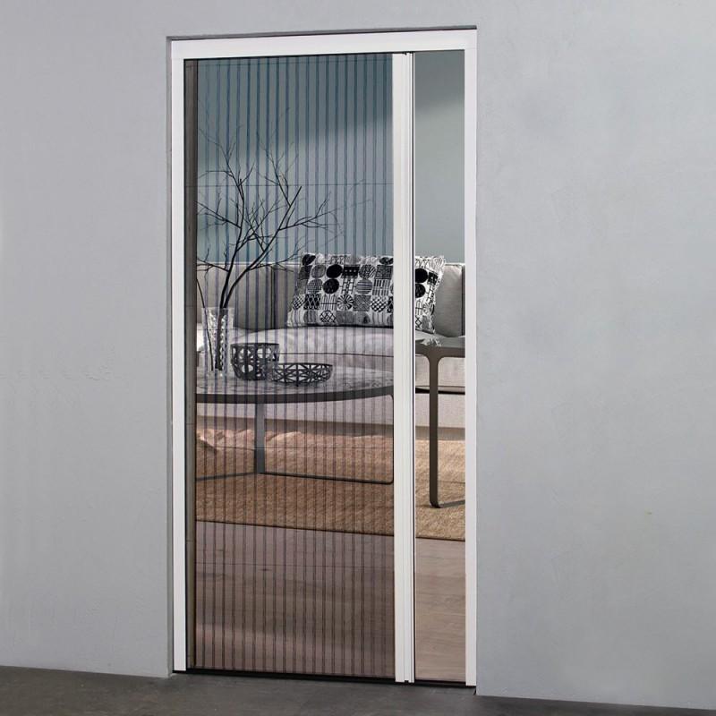 Moustiquaire Plissée Pour Porte Fenêtre H 230 Cm X L 100 Cm Alu Blanc