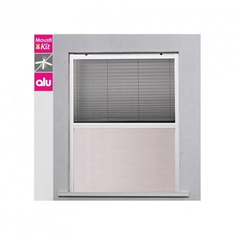 Moustiquaire plissée fenêtre verticale - H145 cm x L160 cm Blanc - fenêtre grande largeur