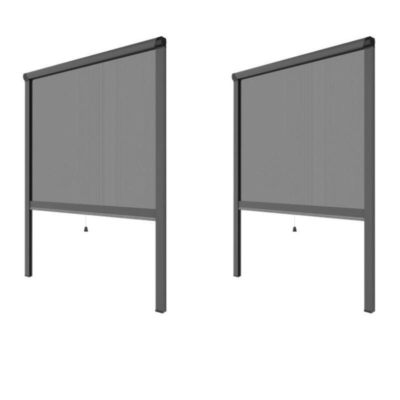 PACK ECO de 2 moustiquaires alu H145 cm x L130 cm Gris