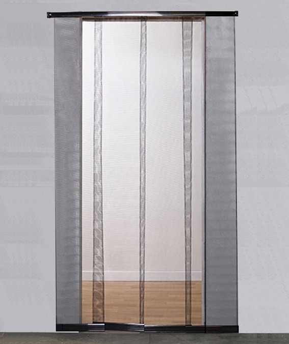 Moustiquaire rideau pour porte - H220 cm x L95 cm - Coloris Toile Noire